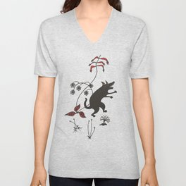 Black Dog Dancing in a Gorey Garden Unisex V-Neck