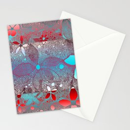 Flowers In Lace Red Blue Stationery Cards