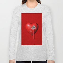 Heart Series Love Bullet Holes Love Valentine Anniversary Birthday Romance Sexy Red Hearts Valentine Long Sleeve T-shirt