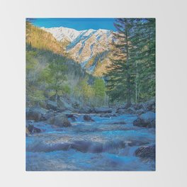 River Bed Sunrise // Long Exposure Landscape Photograph in the Colorado Rocky Mountains Throw Blanket