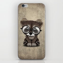 Cute Nerdy Raccoon Wearing Glasses iPhone Skin