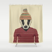 badger Shower Curtains featuring seb the badger  by bri.buckley