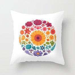 Floral Rainbow Throw Pillow