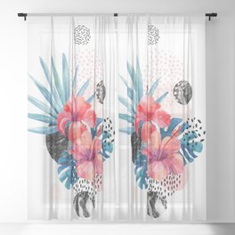 Mid Century Modern Floral Hibiscus Monstera Tropical Leaves Marble Bubbles Retro Funky Abstract Art Sheer Curtain