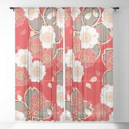 Japanese Vintage Red Black White Floral Kimono Pattern Sheer Curtain