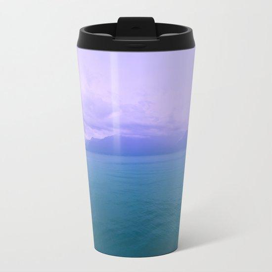 Wild Nature with Lake and Mountains Metal Travel Mug