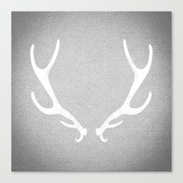 White & Grey Antlers Canvas Print