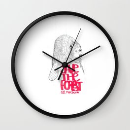 save the planet, eat more beaver Wall Clock