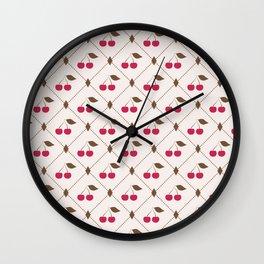 Seamless pattern with cherries and polka dot rhombus Wall Clock