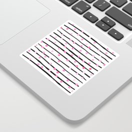 Blush pink black watercolor modern stripes polka dots Sticker