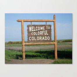 Colorado Sign closeup with blue sky Canvas Print