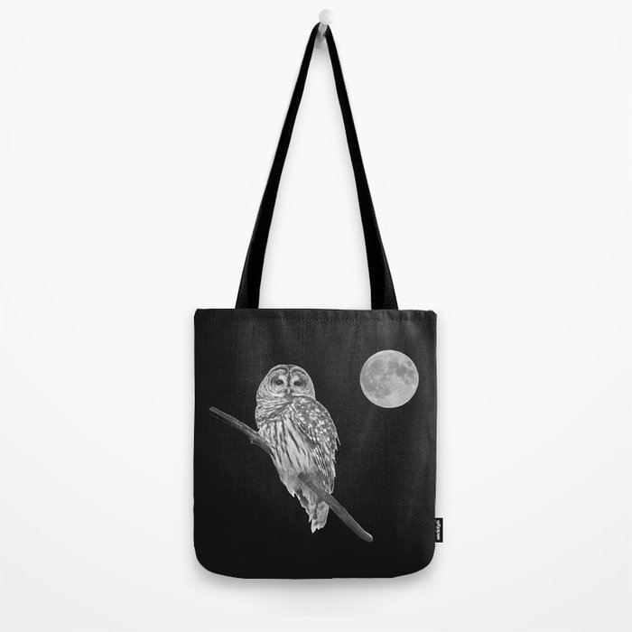 Owl, See the Moon (bw) Tote Bag