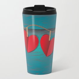Red paper hearts tie to a rope Travel Mug