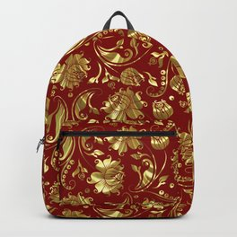 Dark Red & Gold Floral Damasks Pattern Backpack