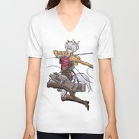 attack on titan V-neck T-shirts featuring Yoshimi Titan attack by ChiyoArts