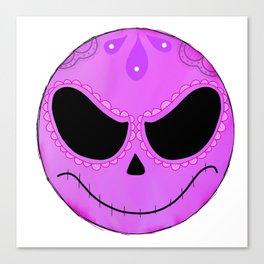 Witchy Aesthetic Art, Full Moon Sugar Skull Art Canvas Print