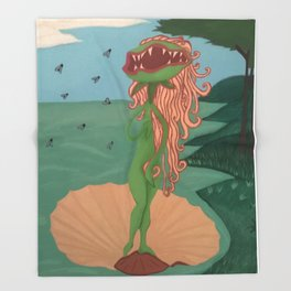 The Birth of Venus Fly Trap Throw Blanket