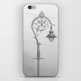 Dublin street lamp in the fog iPhone Skin