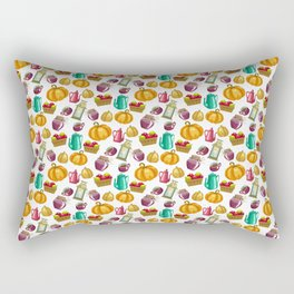 Autumn  Pattern with Food and Drink and Lamp Rectangular Pillow