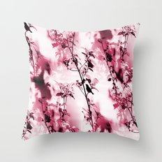 Silhouette of songbird on a branch Throw Pillow