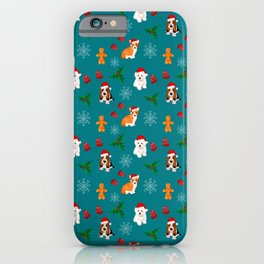 Christmas,festive puppies,dark blue background  iPhone Case