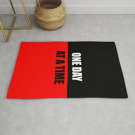 one day at a time inspiration quote Rug
