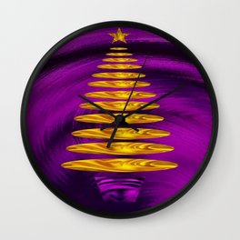 Abstract Golden Christmas Tree On Purple Background  Wall Clock