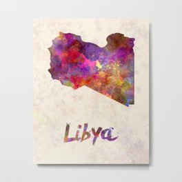 Libya in watercolor Metal Print