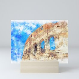 part of the Colosseum, Rome, Italy, summer Mini Art Print