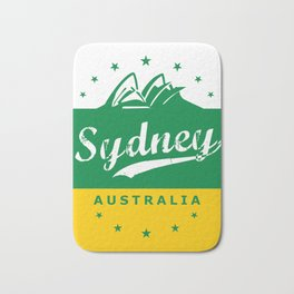 Sydney City, Australia, green yellow, poster Bath Mat
