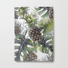 Tropical Leaves and Pineapples Metal Print