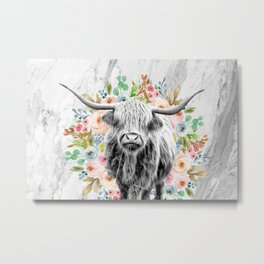 Highland Cow With Flowers on Marble Black and White Metal Print