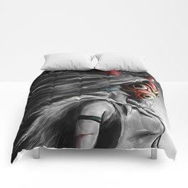 Miyazaki's Mononoke Hime Digital Painting the Wolf Princess Warrior Color Variation Comforters