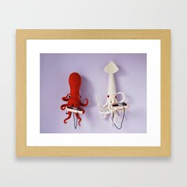 Octopus vs Squid Framed Art Print
