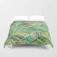 tropical Duvet Covers featuring Tropical Green by Cat Coquillette