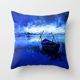 sunrise boat silence watercolor splatters cool blue Throw Pillow
