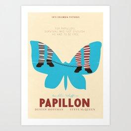 Papillon, Steve McQueen vintage movie poster, retrò playbill, Dustin Hoffman, hollywood film Art Print
