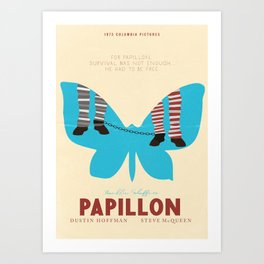 Papillon, Steve McQueen vintage movie poster, retrò playbill, Dustin Hoffman, hollywood film Art Print