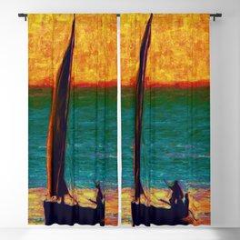 Seascape Boat Painting Impressionism Blue Ocean Art Blackout Curtain