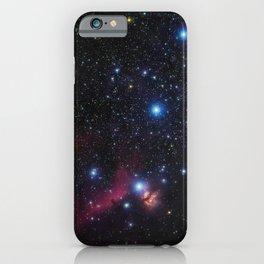 Orion's belt in the winter sky, stars Alnitak, Alnilam, Mintaka, Horsehead Nebula, Orion Nebula iPhone Case