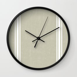 White Stripes on Linen color background French Grainsack Distressed Country Farmhouse Wall Clock