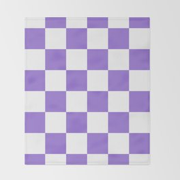 Large Checkered - White and Dark Pastel Purple Throw Blanket