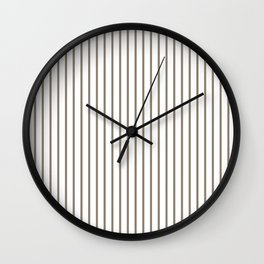 Mulch Brown Pinstripe on White Wall Clock