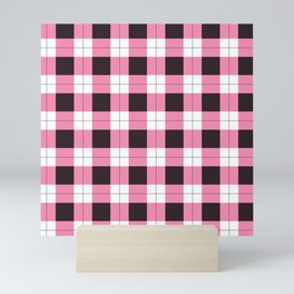 pink black white plaid pattern Mini Art Print