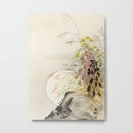 Full Moon behind grass - Japanese vintage woodblock print Metal Print