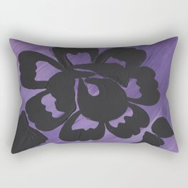 Purple Striped Rose Silhouette Art Design by Christina Appling Rectangular Pillow