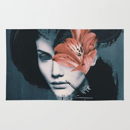 Red Flowers/Lady Portrait Rug