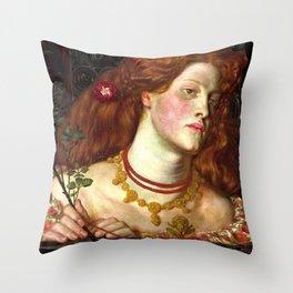 """Dante Gabriel Rossetti """"Fair Rosamund"""" Throw Pillow"""