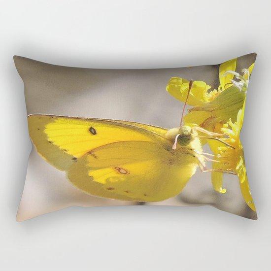 Sulphur Butterfly Imbibing Rectangular Pillow