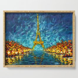 Artwork for sale The night Eiffel Tower Paris is reflected in river Seine original artwork. Serving Tray